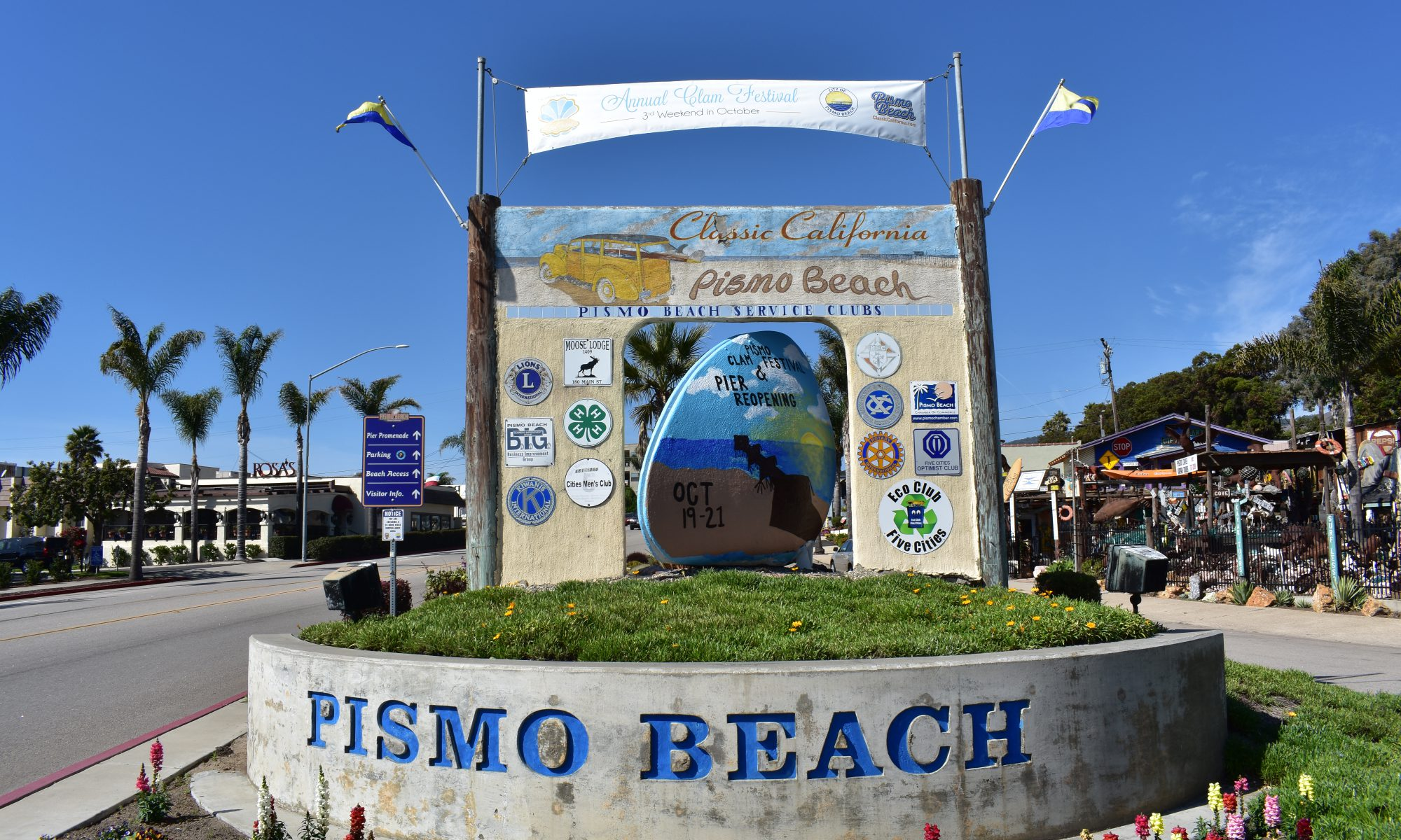 Pismo Beach Welcome Sign 2018 Pismo Beach Clam Festival